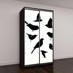 """Шкаф купе с фотопечатью """"векторные силуэты птиц """""""