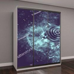 """Шкаф купе с фотопечатью """"Абстрактный синий фон с 3D подсветкой """""""
