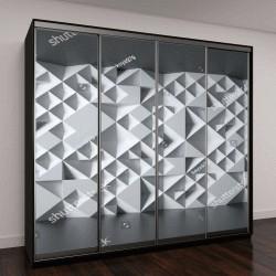 """Шкаф купе с фотопечатью """"белые стены с геометрическим 3D узором"""""""