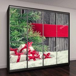 """Шкаф купе с фотопечатью """"Рождественские фон с подарками, красной лентой и ветками ели """""""