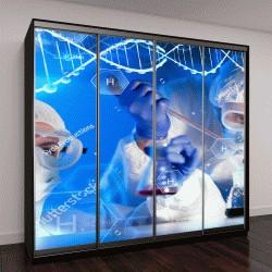 """Шкаф купе с фотопечатью """"спираль ДНК и ученый с пипеткой"""""""