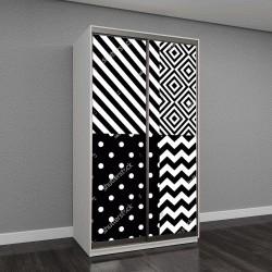 """Шкаф купе с фотопечатью """"геометрический узор черно-белый"""""""