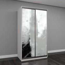 """Шкаф купе с фотопечатью """"Серый Абстрактное Искусство Живопись"""""""