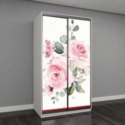 """Шкаф купе с фотопечатью """"декоративные акварельные цветы"""""""