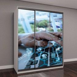 """Шкаф купе с фотопечатью """"Машинное обучение, схема технологий с искусственным интеллектом, автоматизация,интеллектуальный анализ данных в виртуальной реальности"""""""
