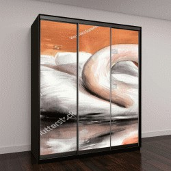 """Шкаф купе с фотопечатью """"Лебедь на водной глади, оригинальный акварельный рисунок"""""""