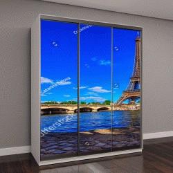 """Шкаф купе с фотопечатью """"Париж Эйфелева башня и река Сена в Париже, Франция"""""""