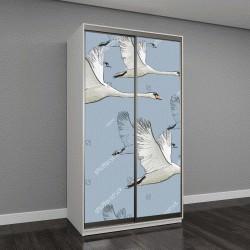 """Шкаф купе с фотопечатью """"Векторная иллюстрация, летящий лебедь"""""""