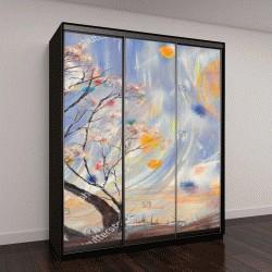 """Шкаф купе с фотопечатью """"Осенние деревья и сюрреалистическое небо"""""""