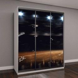 """Шкаф купе с фотопечатью """"баскетбольная арена в темноте """""""