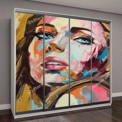 """Шкаф купе с фотопечатью """"женский портрет, живопись на холсте"""""""