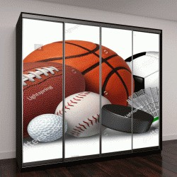 """Шкаф купе с фотопечатью """"мячи для игры в футбол, баскетбол, бейсбол, теннис"""""""