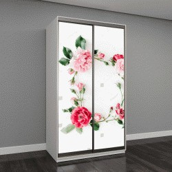 """Шкаф купе с фотопечатью """"круглый узор венок рамка с розами, розовые бутоны, ветви и листья, изолированные на белом фоне"""""""