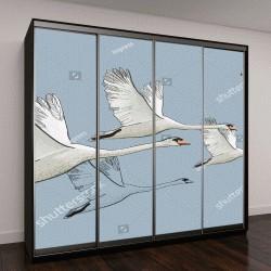 """Шкаф купе с фотопечатью """"Векторная иллюстрация, летящие лебеди"""""""