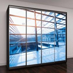 """Шкаф купе с фотопечатью """"окна в современном бизнес-центре"""""""