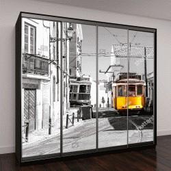 "Шкаф купе с фотопечатью ""Желтый трамвай на старых улицах Лиссабона"""