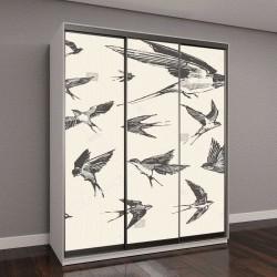 """Шкаф купе с фотопечатью """"Стая птиц, летящих ласточек, рисованной векторная иллюстрация, эскиз"""""""