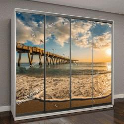 """Шкаф купе с фотопечатью """"вечернее солнце над Мексиканским заливом и причалом в Венеции"""""""