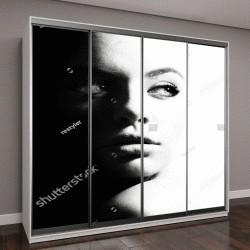 """Шкаф купе с фотопечатью """"черно-белый портрет красивой девушки"""""""