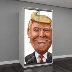 """Шкаф купе с фотопечатью """"шаржевый портрет Дональда Трампа"""""""