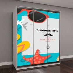 """Шкаф купе с фотопечатью """"Путешествия шаблон летом с пляжа летние аксессуары, векторные иллюстрации"""""""