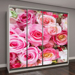"""Шкаф купе с фотопечатью """"цветы роз"""""""