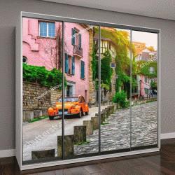 """Шкаф купе с фотопечатью """"Вид на старую улицу в квартале Монмартр в Париже, Франция"""""""