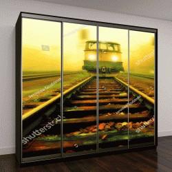 """Шкаф купе с фотопечатью """"вид вблизи на поезд, едущего в закате"""""""