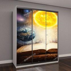 """Шкаф купе с фотопечатью """"волшебная книга с Солнцем, Землей, Луной"""""""
