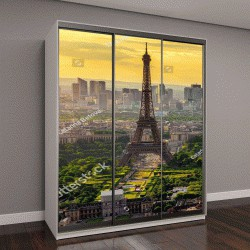 """Шкаф купе с фотопечатью """"Пейзаж с Эйфелевой башни на закате в Париже, Франция"""""""