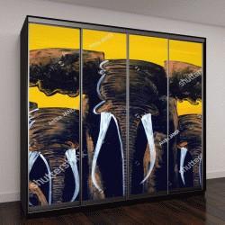 """Шкаф купе с фотопечатью """"Слоны на окрашенной стене, Стоун-Тауне, Занзибар"""""""