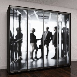 """Шкаф купе с фотопечатью """"Черно-белое изображение деловых людей в офисе"""""""
