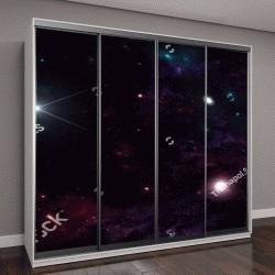 """Шкаф купе с фотопечатью """"Планеты и галактики, фантастичные обои"""""""