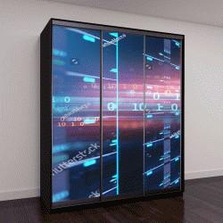 """Шкаф купе с фотопечатью """" серверная в центре обработки данных """""""
