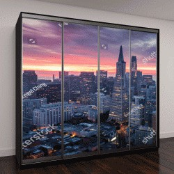 """Шкаф купе с фотопечатью """"Сан-Франциско с облаками на рассвете, Калифорния, США"""""""