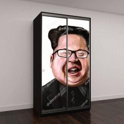 """Шкаф купе с фотопечатью """"Шарж Ким Чен Ын в очках"""""""