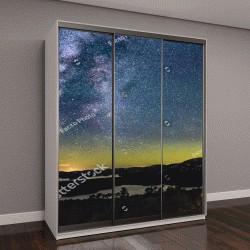 """Шкаф купе с фотопечатью """" Северное сияние и галактика Млечный Путь над горным озером"""""""