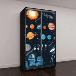 """Шкаф купе с фотопечатью """"векторные иконки: планеты, звезды, астероиды, кометы"""""""