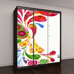 """Шкаф купе с фотопечатью """"Цветочные и декоративные элементы фона"""""""