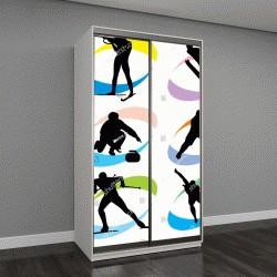"""Шкаф купе с фотопечатью """"векторные изображения зимнего спорта """""""