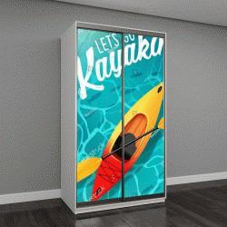 """Шкаф купе с фотопечатью """"идем на байдарках летом плакат вода море сверху"""""""