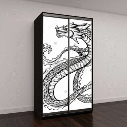 """Шкаф купе с фотопечатью """"черный китайский дракон с длинным чешуйчатым хвостом"""""""