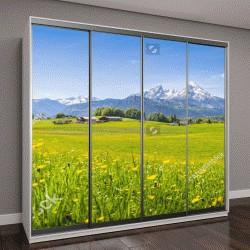 """Шкаф купе с фотопечатью """"Панорамный вид на идиллический горный пейзаж в Альпах со свежими зелеными лугами """""""