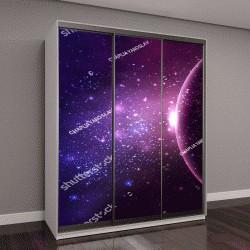 """Шкаф купе с фотопечатью """"планеты в ночном небе, космические звезды"""""""