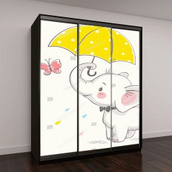 """Шкаф купе с фотопечатью """"Симпатичный слон с зонтиком """""""