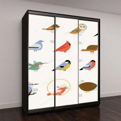 """Шкаф купе с фотопечатью """"иллюстрации птиц"""""""