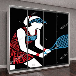 """Шкаф купе с фотопечатью """"силуэт теннисистки держит ракетку в руке"""""""
