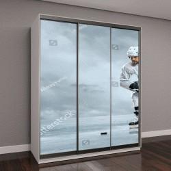 """Шкаф купе с фотопечатью """"Игроки в хоккей на льду"""""""
