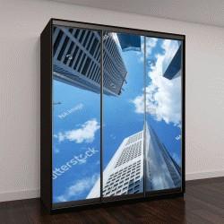 """Шкаф купе с фотопечатью """"высокое здание площадью финансовый бизнес с помощью облачного голубого неба,посмотрите вверх взгляд,синий деловой тон"""""""