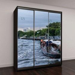 """Шкаф купе с фотопечатью """"пассажирская лодка на канале в Бангкоке"""""""